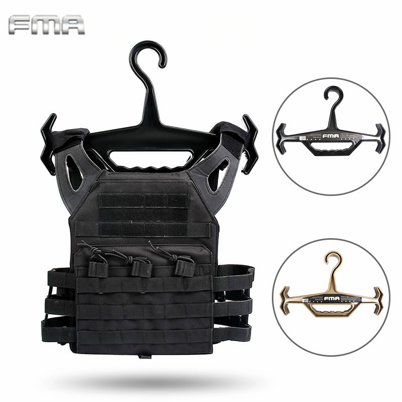 FMA Heavy Duty Tactical Hangers for Tactical Vest Durable Anti skid Heavy Coat Hangers Airsoft Hunting Accessories TB1015 BK/DE|Hunting Vests| |  - title=
