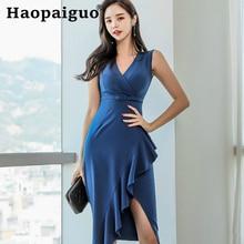 Plus Size Summer Office Dress 2019 Sleeveless Asymmetrical Ruffle Wrap Blue Dress Women Solid Sexy Evening Party Dress Women surplice ruffle hem plus size asymmetrical dress