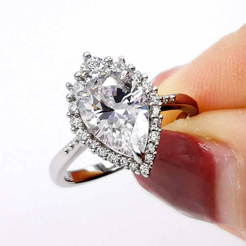 Colorfish Vintage Inspired Design 2ct Pear Shape Engagement Rings