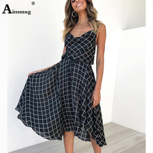 Aimsnug Vintage Navy Plaid Spaghetti Strap Belted Dress Elegant Plain Fit and Flare Dress Women Autumn Modern Lady Party Dresses retro cut out plaid fit and flare dress