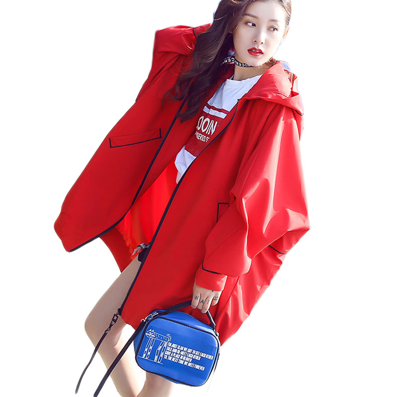Novelty Korean Style Loose Spring Autumn Vintage Female Bat Hooded Coat Fashion Women Red   Trench   Coats Outwears for Women XH048