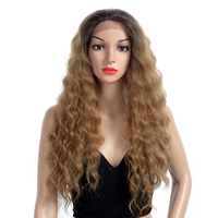 Aigemei Synthetic Long Curly Lace Front Wigs Fiber 28 Inch Free Part Lace Front Wig for Women Curly Hair 200g