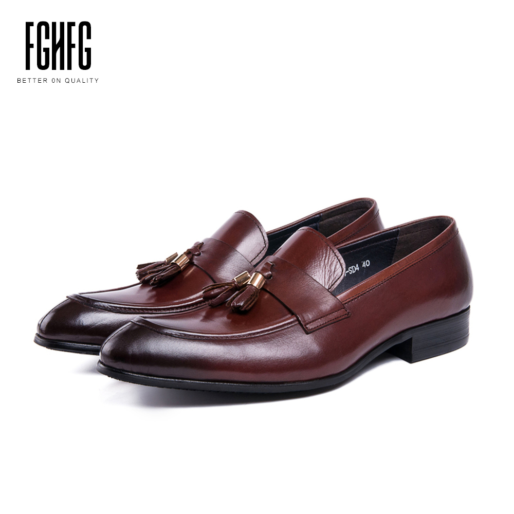 Men's Genuine Leather Shoes Loafers Cowhide Leather Pig Inner Round Toe Dress Wedding Business Shoes 2018 New Fashion classic men s genuine leather shoes cowhide leather pig inner pointed toe derby dress wedding business shoes 2018 fashion