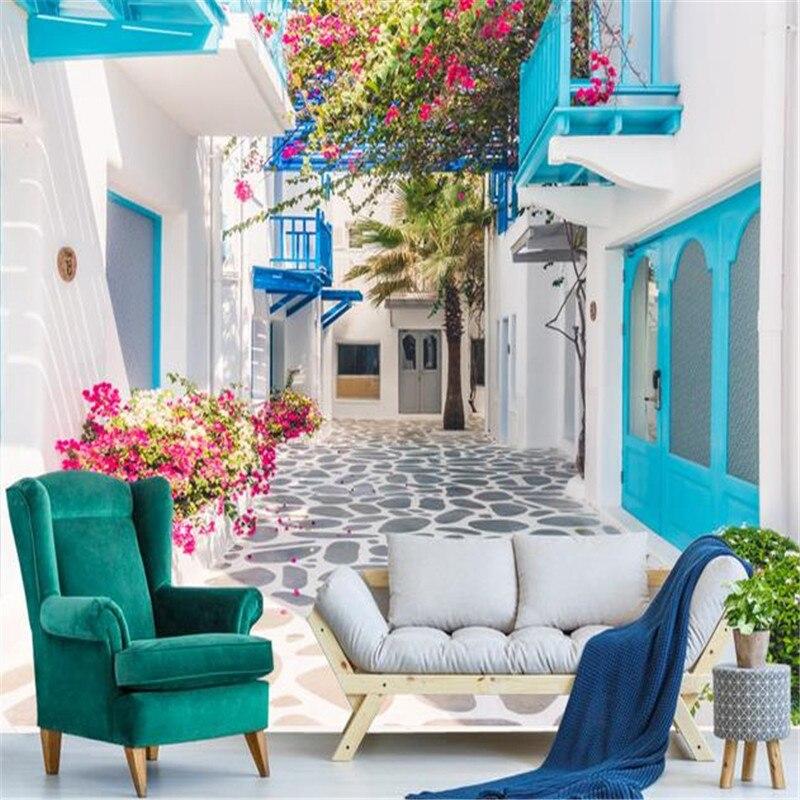 Nature Scenery Murals 3D Blue Sky Wallpapers Romantic Santorini Landscape Walls Papers Stone Street Flowers Leaf for Living Room blue sky чаша северный олень