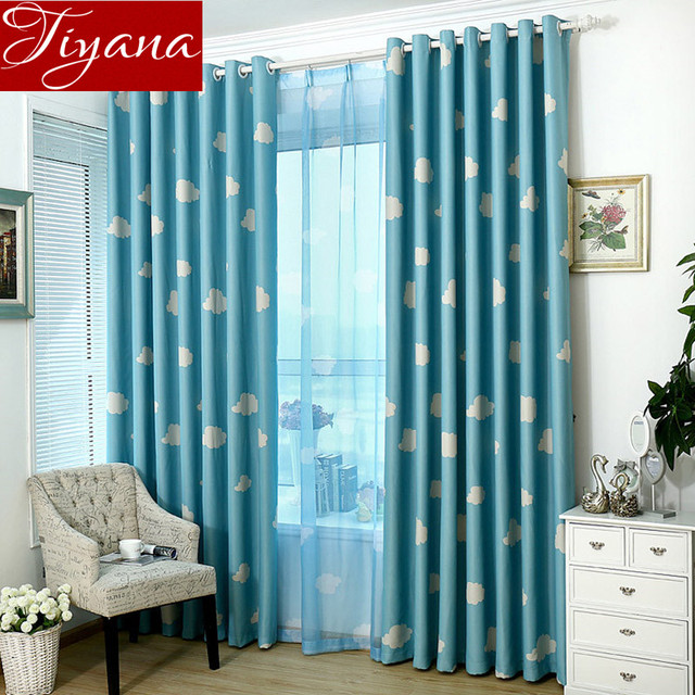 blue curtains living room. White Cloud Blue Curtains Window Screen Voile Kids Room Modern Simple Living  Cloth Tulle