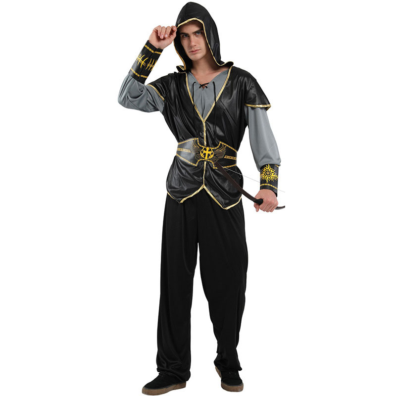 Adult Men Hooded Huntsman Archer Hunter Costume Halloween Purim Holiday Party Carnival Cosplay Outfit
