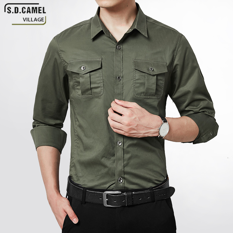 618b37cb2344 Brand High Quality Luxury Army Dress Shirts for Men Long Sleeve Formal  Casual Men's Slim Fit Cotton Long Sleeve Button Shirt