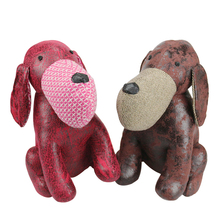 ZXZ 30cm Handmade PU Leather Dog Plush toys Gift Creative Home Decor Ornaments Animals Dog