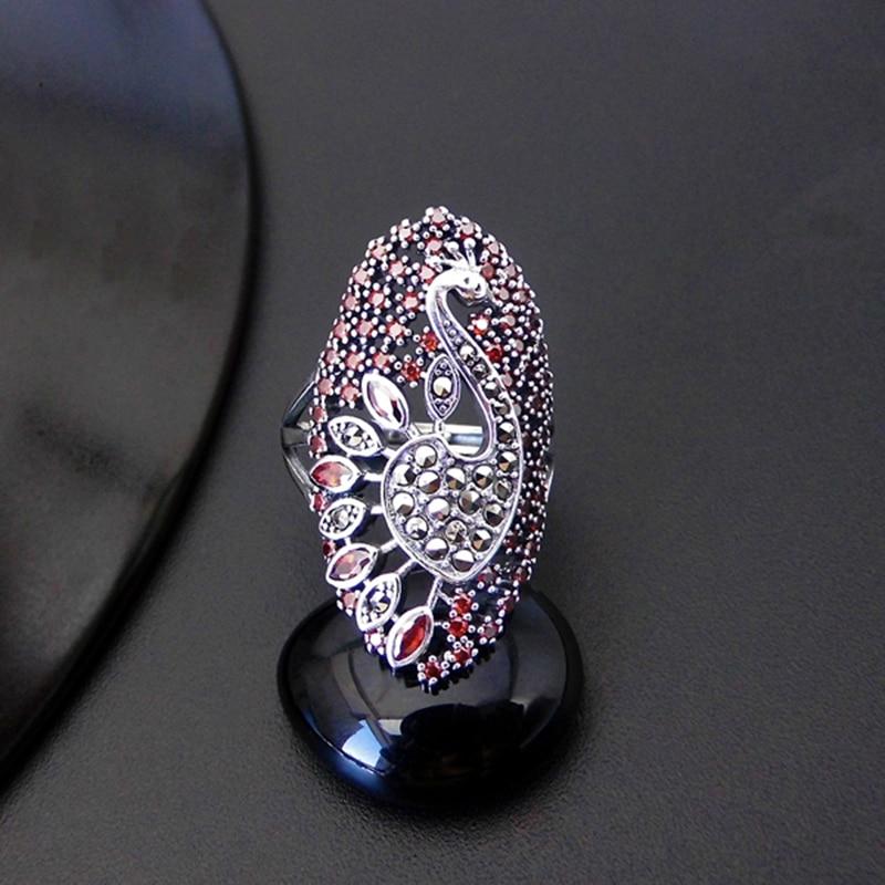 925 argent Vintage cadeau de mariage grande bague pour femmes anneaux femme femme grand paon