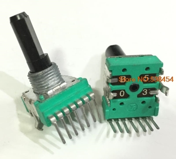 4pcs FRK14 7 핀 이중 전위차계 스위치 B50K 장축 20MM 듀얼 채널 볼륨 가변 저항기 스위치