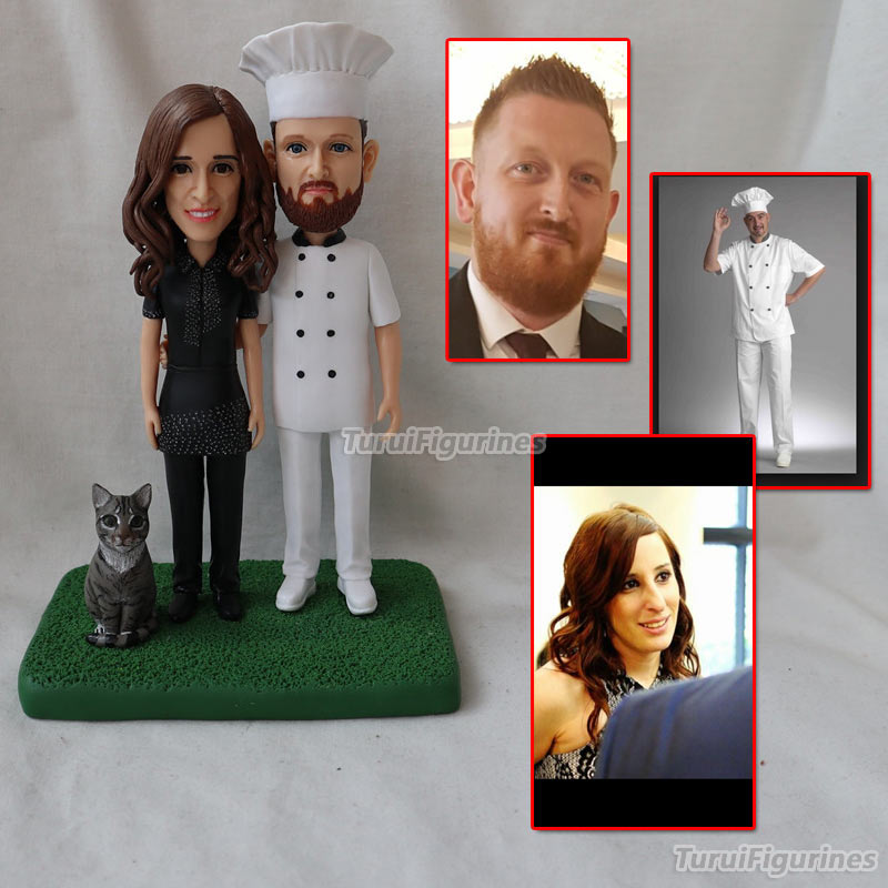 Personnalisé ooak polymère argile poupée mariage anniversaire gâteau topper cadeau pour parents couple présent personnalisé animal homme portrait - 4