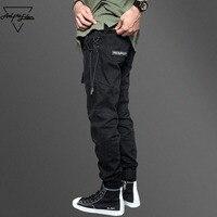 Aelfric Eden Belt Pants Men Black Feet Cargo Pants Side Weave Spliced Man Casual Pants Hip