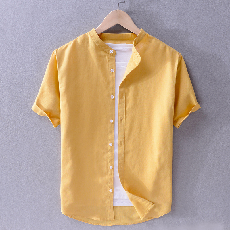 New Arrival Brand Linen Shirts Men Summer Solid Yellow Shirt Mens Fashion Casual Stand Collar Shirt Male Plus Size Camiseta