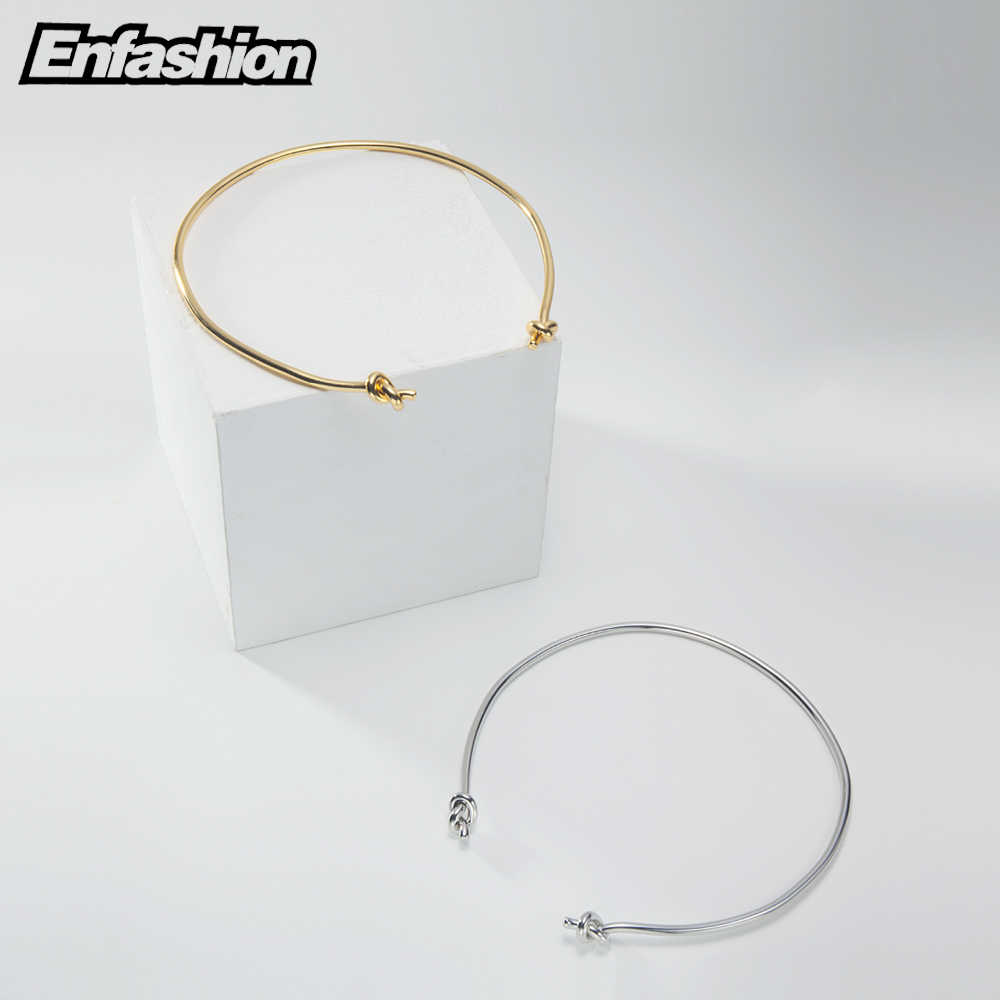 EnFashion para węzeł Choker naszyjnik złoty kolor naszyjniki wisiorki Chokers naszyjnik kobiety oświadczenie biżuteria Kolye Collares