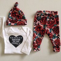 2017 Autumn New Baby Clothing Set Baby Girls Long Sleeve Tops Romper Long Pants Hat 3pcs