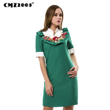 Hot Sale New Women High Quality Vintage  Fashion Autumn Solid  Knee-Length Mandarin Collar Neck Appliques  Dresses  71461