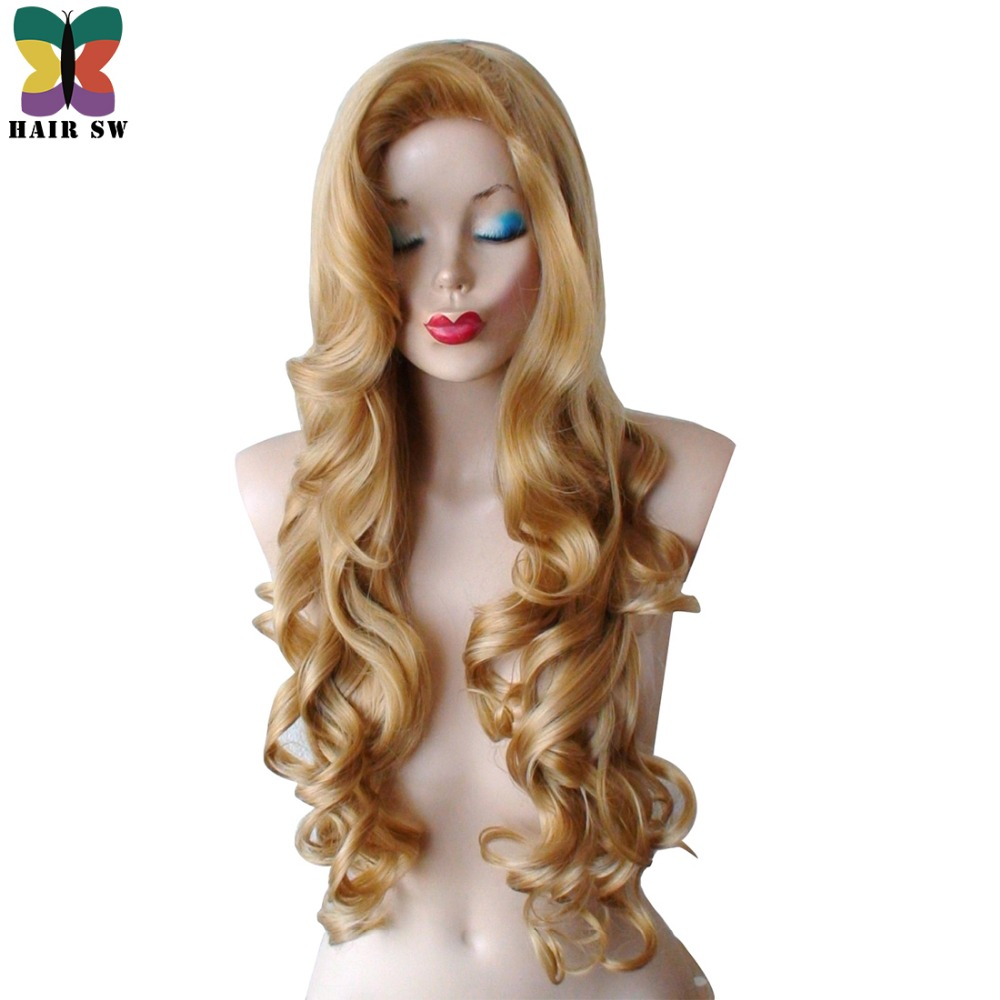 HAIR SW Golden Blonde Long Curly Wig Synthetic Cosplay Rabbit Wig With Big Swap Bangs Drag Queen For Halloween Daily Use