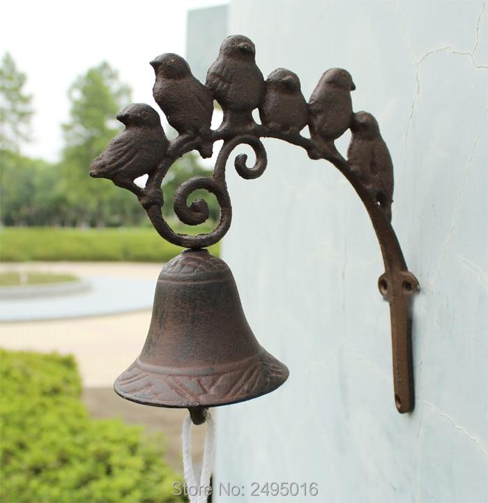 Porta di ferro campana, rustico Uccelli Campanello, Parete Anteriore Porta Campana per la Casa Colonica, giardino, e Cortile, marrone