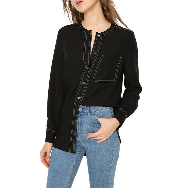 European Boutique Womens Stylish Black Cupro Button Down Shirts