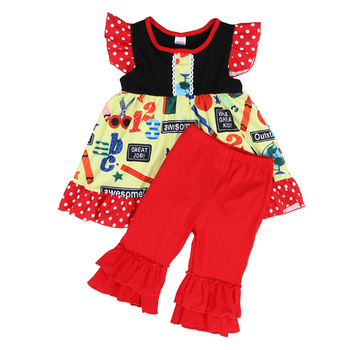 Kaiya Angel Boutique Kid Clothing Floral Sleeveless Dress Tops + Red Cotton Ruffle Trousers Chlidren Girls Summer Clothing Sets
