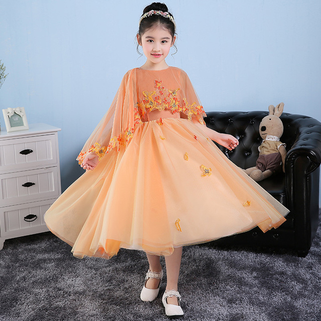 Kids Girl Evening Dress Orange Color Lace Mesh Teen Dresses Ball ...