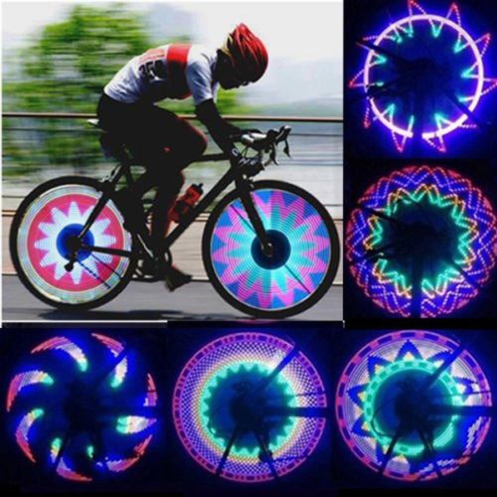Прохладный 2 боковых 32 LED 32 режим ночного Водонепроницаемый колеса Сигнальные лампы Светоотражающие Обода Радуга шин велосипеды Велосипедный Спорт фиксированной говорил предупредить свет