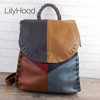Patchwork Genuine Leather Backpack Female Soft Quality Natural Leather Daily Knapsack Women Hollow Out Retro Vintage Packsack