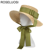 ROSELUOSI Women Summer Straw Hats 2018 Fashion Bow Knot Flat Top Sun Hat With Long Ribbon Ladies Wide Brim Beach Hat Gorras