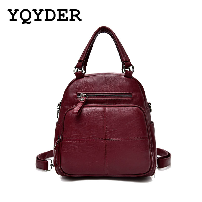 YQYDER Multifunctional Women Backpack Large Capacity High Quality Pu Leather Backpack Travel Bags Female Casual Daypacks
