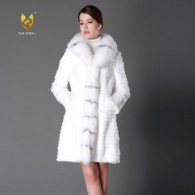 Fur Story 15130 Новое Женское модное роскошное Брендовое пальто из натурального кроличьего меха с воротником из натурального Лисьего меха длинное зимнее пальто
