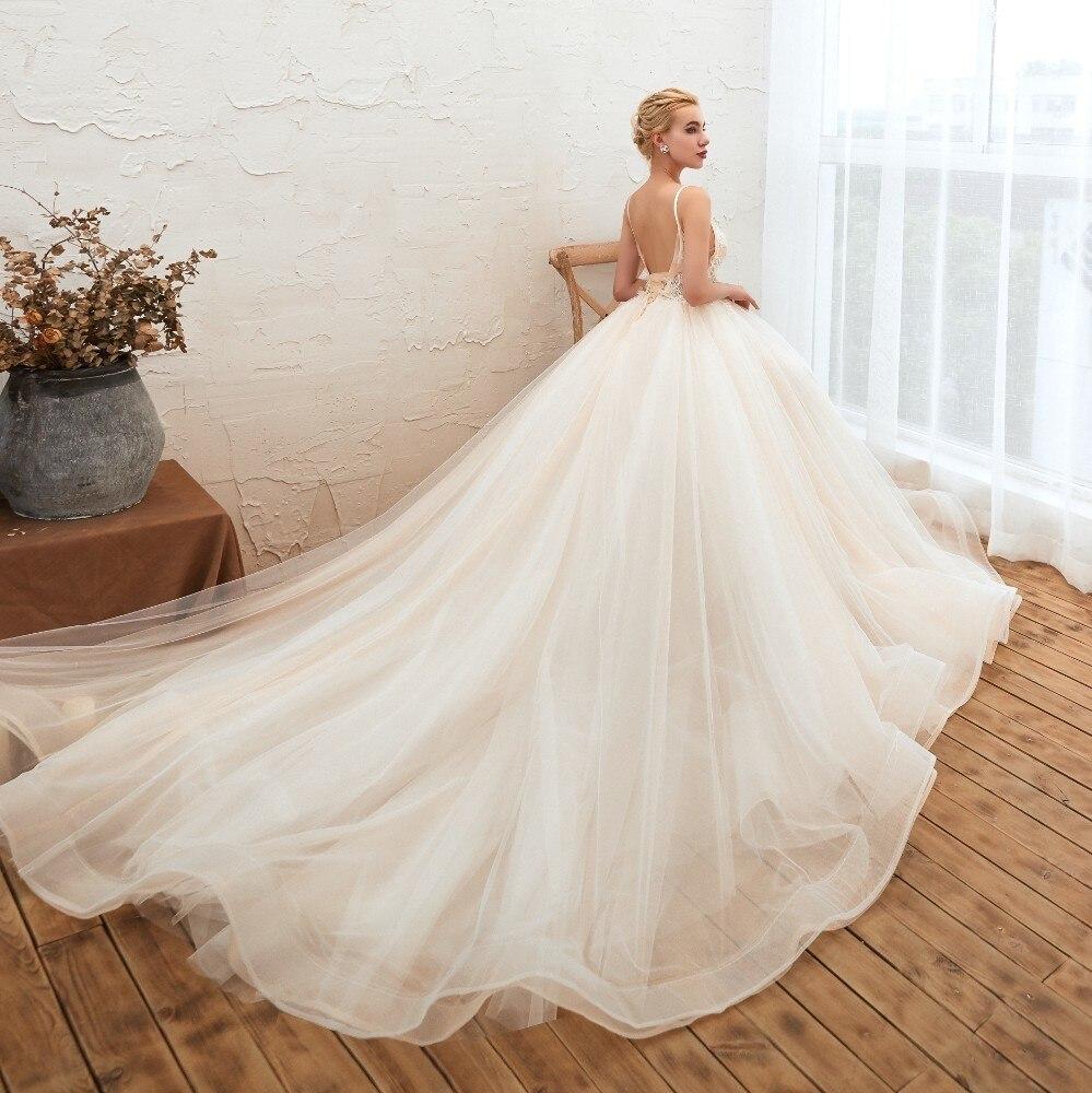 Été de mariée Vivian Boho fée dentelle perles Appliques robe de mariée Sexy bretelles Spaghetti dos nu chapelle Train robe de mariée - 5