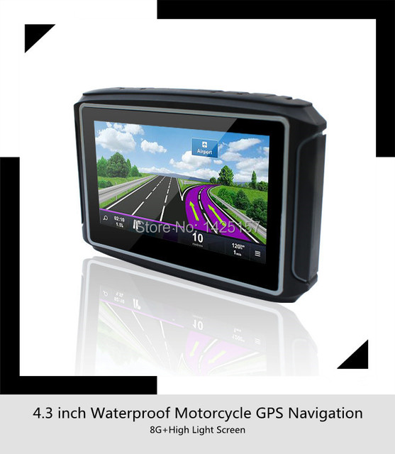 4.3 ''мотоцикл GPS Навигации Водонепроницаемый Рейтинг IPX7 + 8 ГБ ФЛЭШ + Bluetooth + Бесплатные Карты