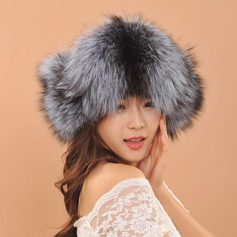 Retail Beautiful Russian Hat Women Ladies Warm Rex Fox Fur Hat Female Winter Hat