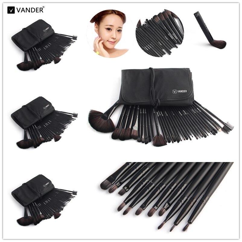 VANDER Black 5*32pcs Makeup Brush Set Professional Cosmetic Wholesale Kits Brushes Foundation Powder Eyeliner pincel maquiagem