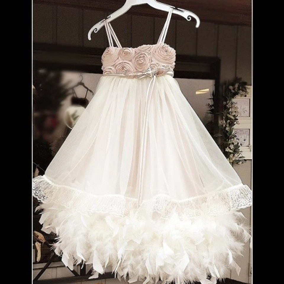 Flower Girl DressTutu 1 Year Old Baby Toddler Birthday Dress Kids Evening Gown Feather Dresses