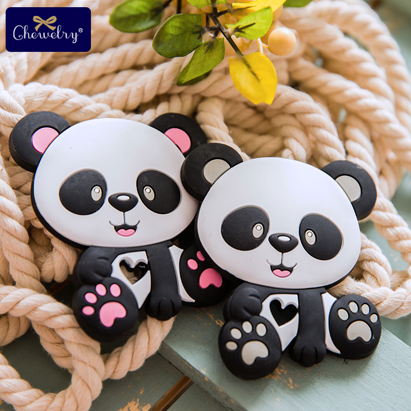10pc Cute Panda Baby Food Grade Silicone Teether Rodent Cat Diy Necklace Tiny Rod Pacifier Chain Pendant For Kid Product Toy