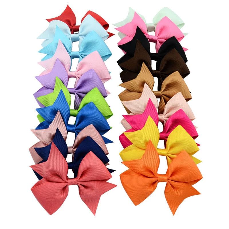 20Pcs Cute Hair Bows Boutique Alligator Clip Grosgrain Ribbon For Girl Baby Kids