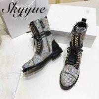 SKYYUE новые туфли из натуральной кожи Braided Gladiator женские зимние ботинки со шнуровкой круглый носок металлической цепочкой на низком каблуке ж