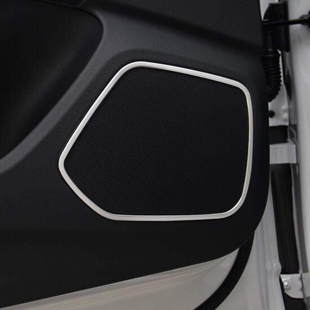 For Audi Q3 2013 2014 2015 car door detector stick Stainless steel Inside Audio Speak Sound Cover Ring circle lamp trim 4pcs