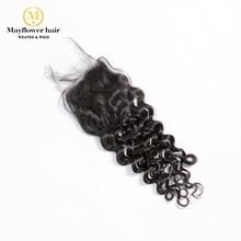 """Mayflower 4X"""" Кружево Закрытие девственные волосы итальянские локоны с волосами младенца ручной работы Средний коричневый цвет кружева три вида части"""