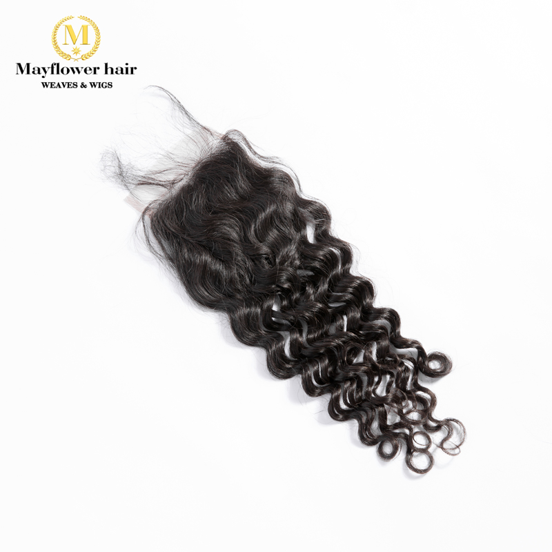 "Mayflower 4X4"" Lace Closure 100% Virgin Hair Italian Curl With Baby Hair Hand Made Middle Brown Lace Color Three Kinds Of Part"
