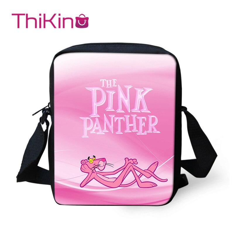 Thikin Pink Panther Shoulder Bags Children Messenger Bag Crossbody Phone for Girls Shopping Mochila Infantil