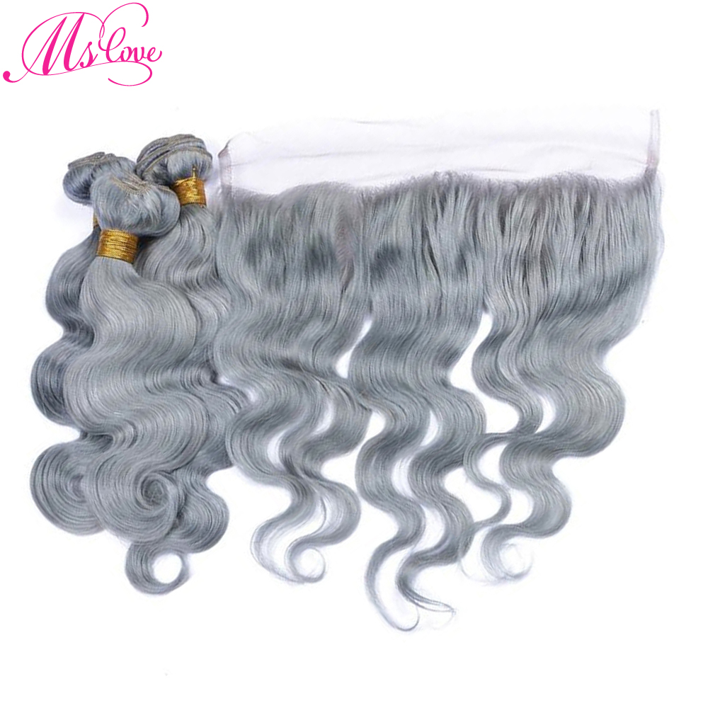 Ms Love Pre-Colored Grey Hair Bundles With Frontal 13x4 Lace Body Wave Remy Brazilian Human Hair Bundles With Lace Frontal