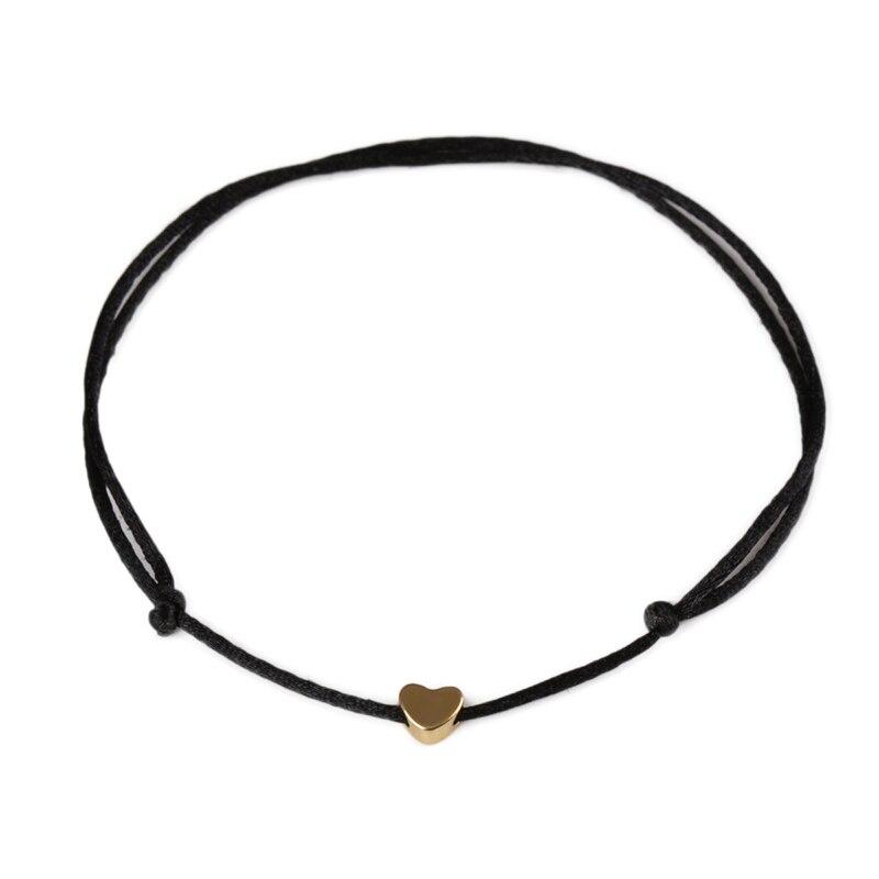 KEJIALAI Gold Color Heart Bracelet Silver Handmade Jewelry Multicolor Rope Adjustable String Lucky Bracelet For Women Children 3