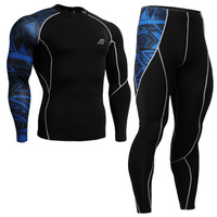 Mens Compression Shirts Pants Sets Trainning Gym Running MMA Weightlifting Fitness Skin Tight Base Layers Set