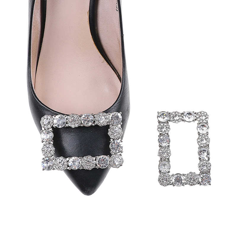 1 Pc Rhinestone Square Shoes Buckle Bridal Wedding Charm Metal Crystal Shoe Clips Decor Accessories Elegant Fashion For Girls