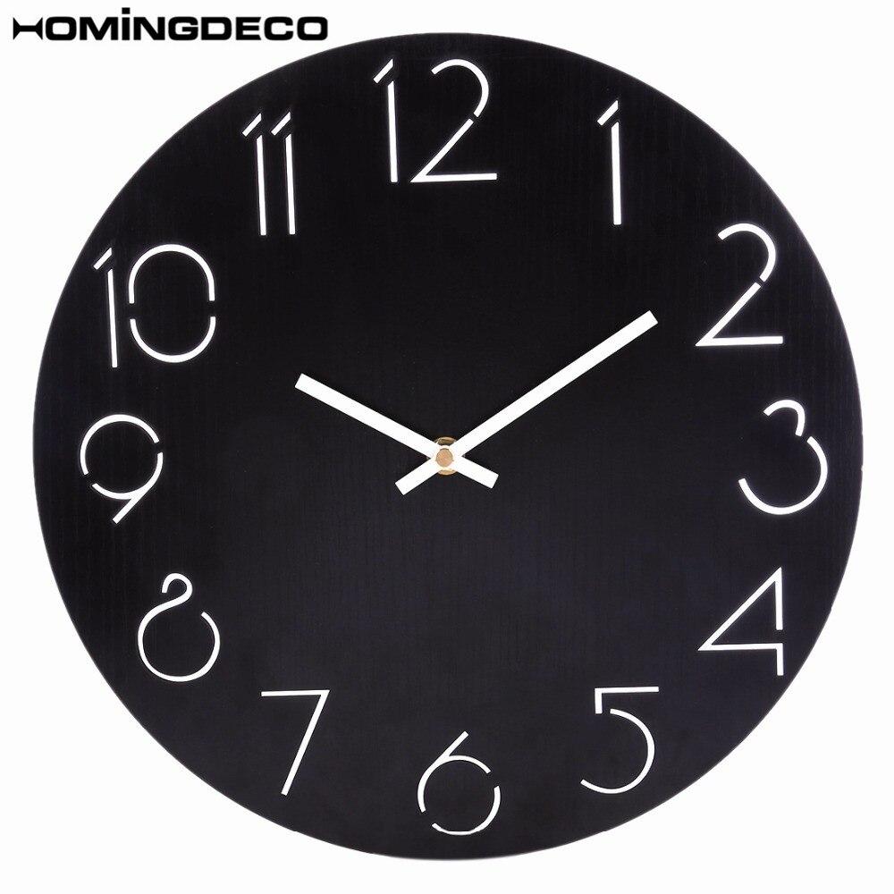 Homingdeco 30cm Simple Round Wall Clock Quartz Modern Design Country Style Beautiful Wall Clocks For Livingroom Home Decor