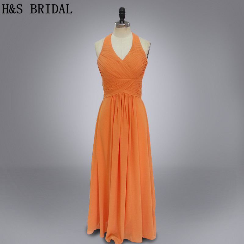 Real photo Halter v neck orange chiffon   bridesmaid     dress