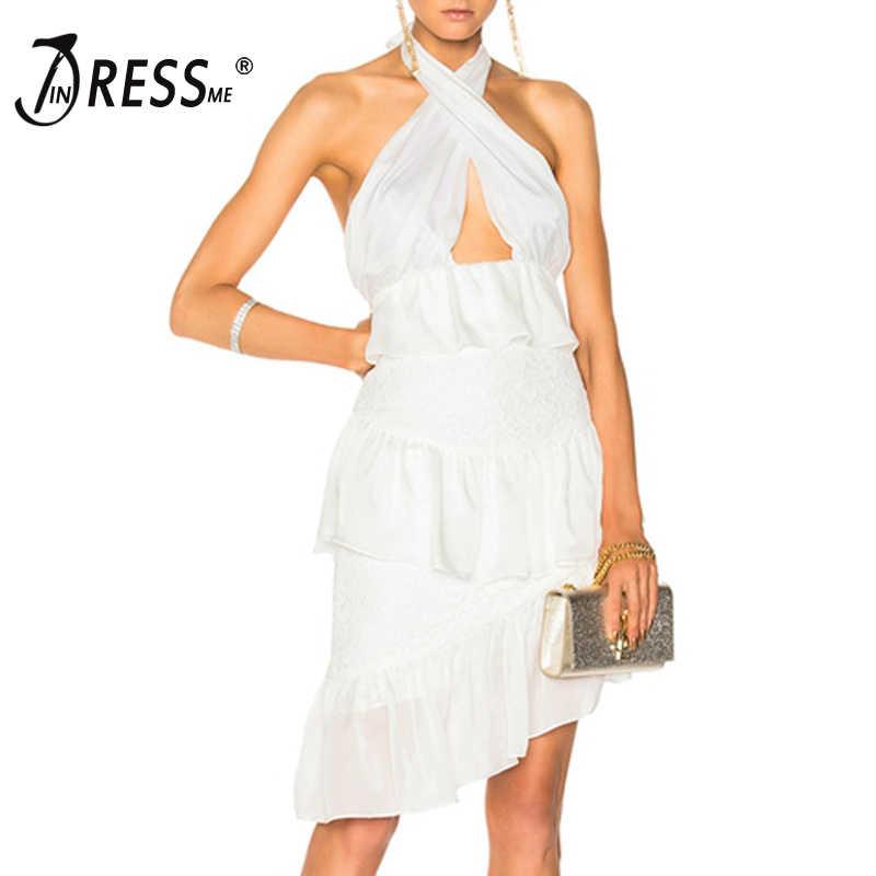INDRESSME 2019 فستان جديد مثير مثير للنساء من الدانتيل أنيق هالتر الجوف خارج Bodycon بدون ظهر فستان قصير للحفلات والنوادي فستان فيستيدوس إنس