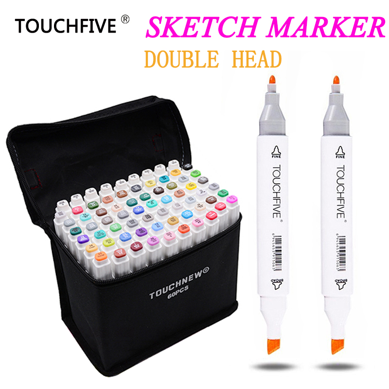 TOUCHFIVE 30/40/60/80 Colors Drawing Marker Design Artist Dual Head Sketch Markers Set For Manga Marker School Supplies stabilo bianyo 30 40 60 80 colors set artist dual head oil sketch copic markers set for school drawing sketch marker pen design supplies